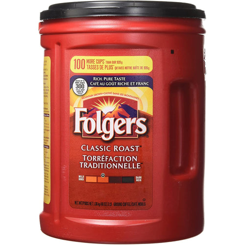 Folgers Classic Roast Ground Coffee, Rich Pure Taste (1.36Kg). - shopperskartuae