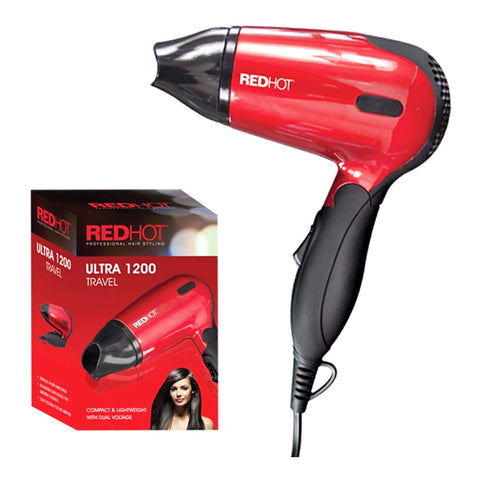 RedHot Professional Style Compact 1200W Travel Hair Dryer with Folding Handle Dual Voltage 2 Heat Settings (Red). - shopperskartuae