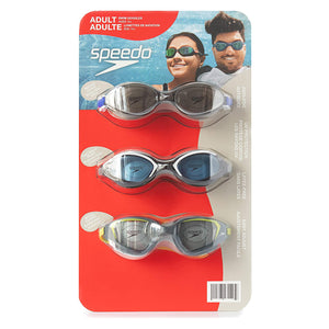 Speedo Adult Swim Goggles Anti-Fog UV Protect Latex Free 3 Pack (Smoky Gray, Black/White, Gray/Green). - shopperskartuae