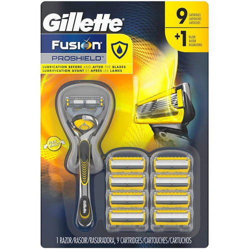 Gillette Fusion ProShield Razor + 9 ct. Cartridges. - shopperskartuae