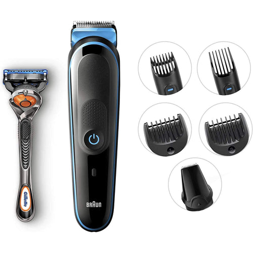 Braun 7-in-1 All-in-one trimmer MGK5045, Beard Trimmer & Hair Clipper, Detail Trimmer, Black/Blue - shopperskartuae