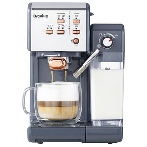 Breville VCF109 One-Touch Coffee Machine (Graphite Grey & Rose Gold) - Espresso, Cappuccino And Latte Maker.
