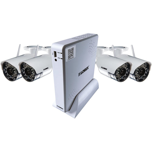 Lorex 4-Channel, 4 Camera Indoor/Outdoor Wireless DVR Security System (White). - shopperskartuae