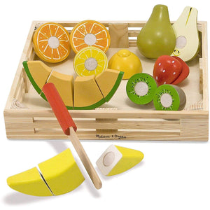 Melissa & Doug Cutting Fruit Set (Wooden Play Food, Attractive Wooden Crate, Introduces Part and Whole Concepts, 18-Piece Set)