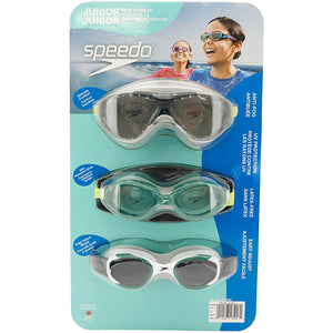 Speedo Junior Swim Goggles 3-Pack, Multi-Color & Shape.