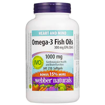 Webber Naturals Heart And Mind Omega-3 Fish Oils 300 EPA/DHA 1000 mg 210 Softgels For Cardiovascular Health and Brain Function.