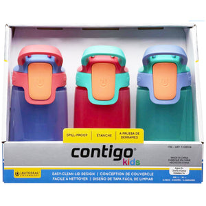 Contigo Flasks Autoseal Sip Kids Water Bottles - 415ml (Purple/Pink/Blue). - shopperskartuae