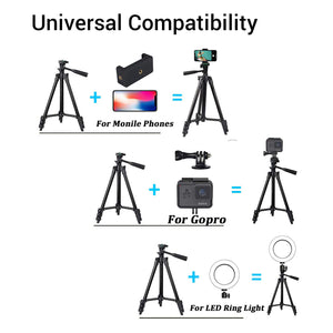 "Phone Tripod,LINKCOOL 42"" Aluminum Lightweight Portable Camera Tripod for Iphone/Samsung/Smartphone/Action Camera/DSLR Camera with Phone Holder & Wireless Bluetooth Control Remote - Black. - shopperskartuae"