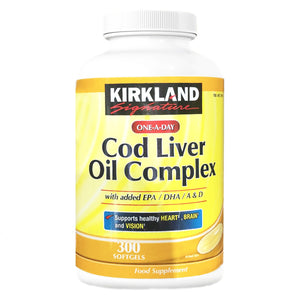 Kirkland Signature Cod Liver Oil Complex with added EPA, DHA, Vitamin A, Vitamin D (300 Softgels). - shopperskartuae