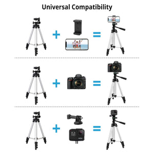 "Phone Tripod,LINKCOOL 42"" Aluminum Lightweight Portable Camera Tripod for Iphone/Samsung/Smartphone/Action Camera/DSLR Camera with Phone Holder & Wireless Bluetooth Control Remote (Silver). - shopperskartuae"