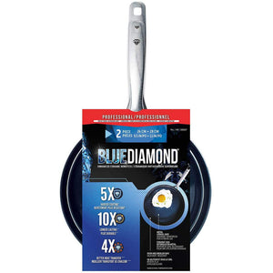"Blue Diamond Ceramic Nonstick 2 Piece Fry Pan Set in Blue (11"" & 9.5"") Skillets. - shopperskartuae"