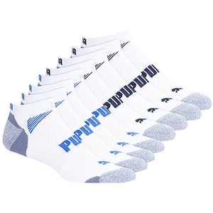 Puma Men's Low Cut Ankle Length Cushioned Socks Set of 8 (Blue&Grey).