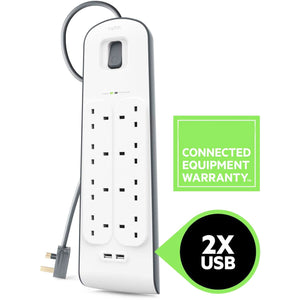 8-Way Surge Protection Strip With 2 Meters Cord Length. - shopperskartuae