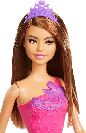 Barbie Princess Doll Brown Hair And Purple Dress GGJ95