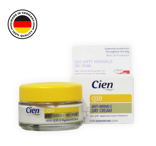 Cien Anti-Wrinkle Anti-Age Day Cream with Q10 and Vitamin E with UV Filter (50 ml). - shopperskartuae