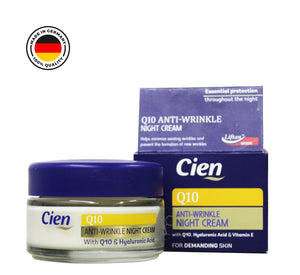 Cien Anti-Wrinkle Night Cream With Q10, Hyaluronic Acid and Vitamin E (50ml). - shopperskartuae