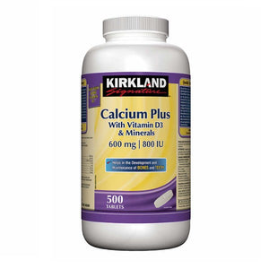 Kirkland Signature Calcium Plus With Vitamin D3 & Minerals 600 mg | 800 IU - 500 Tablets - shopperskartuae
