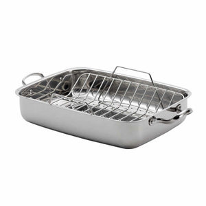 Lagostina 18/10 Stainless-steel Roasting Pan with Rack - shopperskartuae