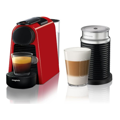 NESPRESSO by Magimix Essenza Mini Coffee Machine with Aeroccino - Ruby Red with 19 BAR - shopperskartuae