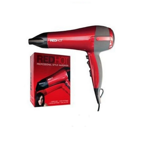 Red Hot 37010 Professional Hair Styling Ultra 2200W Hair Dryer with Diffuser and Concentrator Nozzle 3 Heat 2 Speed Settings Cool Shot - shopperskartuae