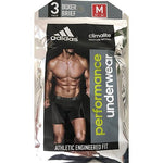 adidas Mens Performance Boxer Brief Underwear Climalite 3pk Blue Black Grey Size Small - shopperskartuae