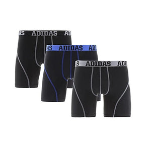 adidas Mens Performance Boxer Brief Underwear Climalite 3pk Blue Black Grey Size Large - shopperskartuae