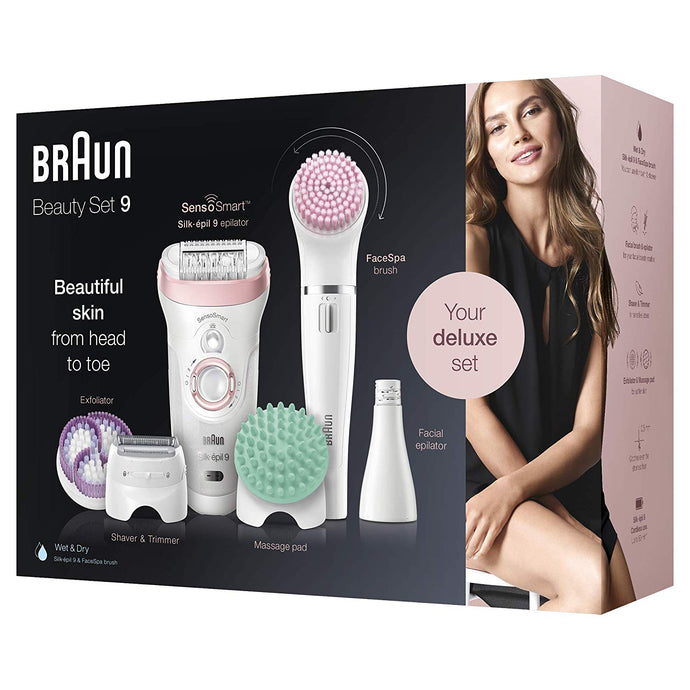 Braun Hair Removal Silk-Epil Beauty Set 9 Deluxe Wet and Dry Use. - shopperskartuae