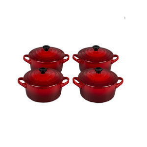 Le Creuset Set of 4 Stoneware Cocottes 22 oz 22 Ounce Red