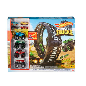 Hot Wheels Monster Truck Loop Challenge Track Play Set 4 Trucks + 4 Cars