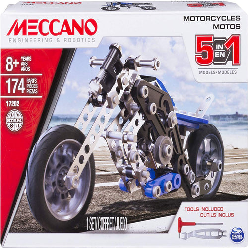 Meccano Erector, 5 in 1 Model Building Set - Motorcycles, 174 Pieces, for Ages 8 and up, STEM Construction Education Toy - shopperskartuae