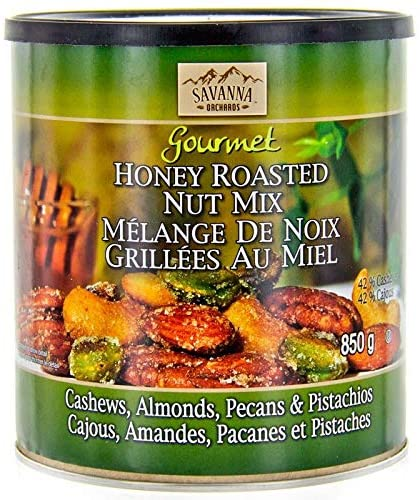 Savanna Orchards Gourmet Honey Roasted Nut Mix (850g) With Cashews, Almonds, Pecans and Pistachios. - Shoppers-kart.com