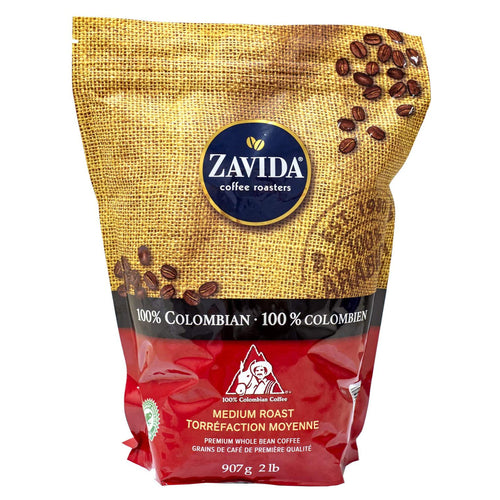 Zavida 100% Colombian Premium Whole Bean Coffee (907g). - shopperskartuae