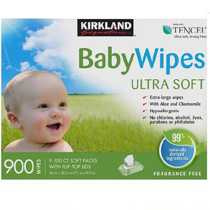 New Kirkland Signature Unscented Baby Wipes Ultra Soft 900 Wipes - shopperskartuae