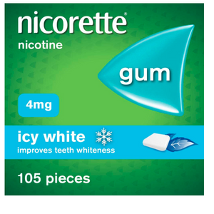 Nicorette Gum - Icy White, 4 mg, 105 Pieces – Also Whitens Teeth – Stop Smoking Aid - shopperskartuae