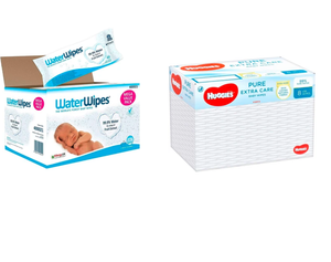 WATERWIPES PUREST BABY WIPES SENSITIVE SKIN +HUGGIES PURE EXTRA CARE BABY WIPES (8 X 56 WIPES).
