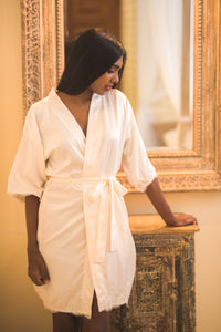 Ivory Satin Short Bridal Robe