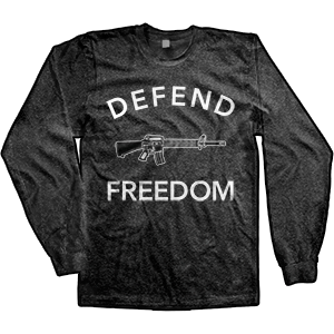 Defend Freedom AR-15 Long Sleeve T-Shirt (TriBlack) - (FINAL SALE - NO RETURNS / NO EXCHANGES)