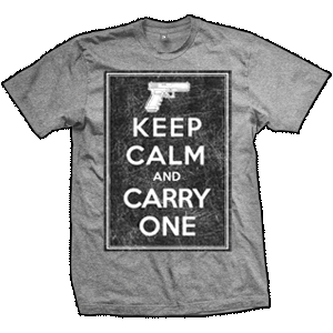 Keep Calm And Carry One T-Shirt (TriGrey)