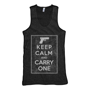 Keep Calm And Carry One Tank Top (TriBlack)