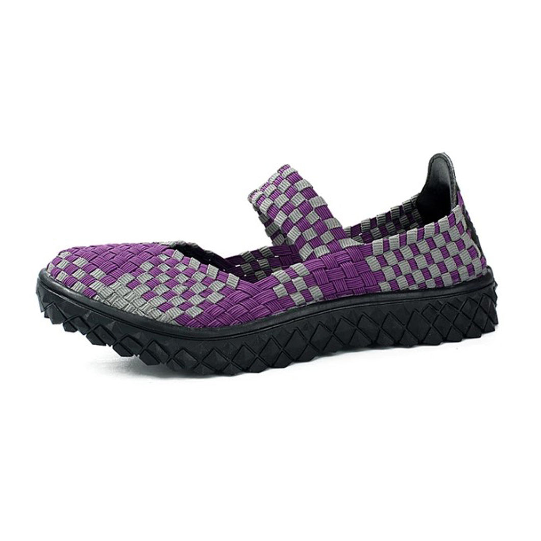 Purple Spots Woven Black Sole Slip On With Thick Sole (3475547127908)