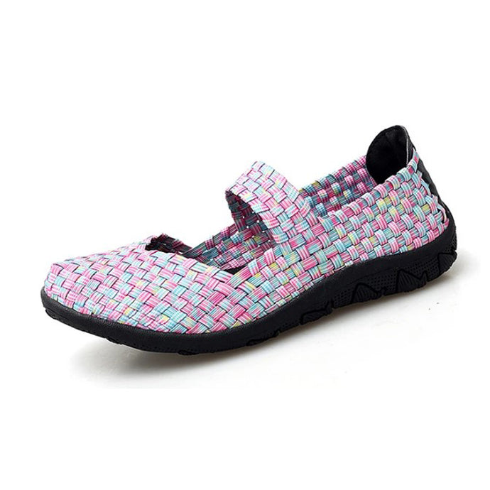 Pink Woven Black Sole Slip On With Thin Sole (3572443218020)