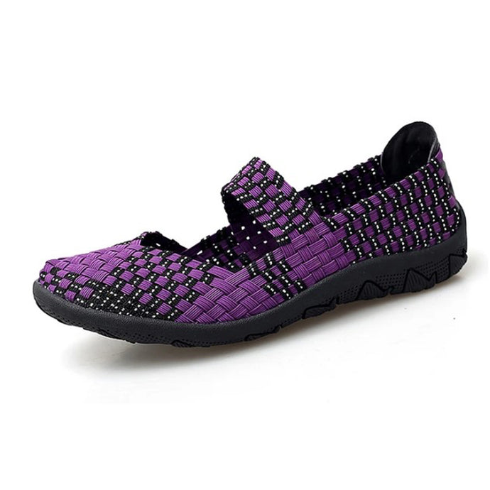 Purple Woven Black Sole Slip On With Thin Sole (3572481884260)