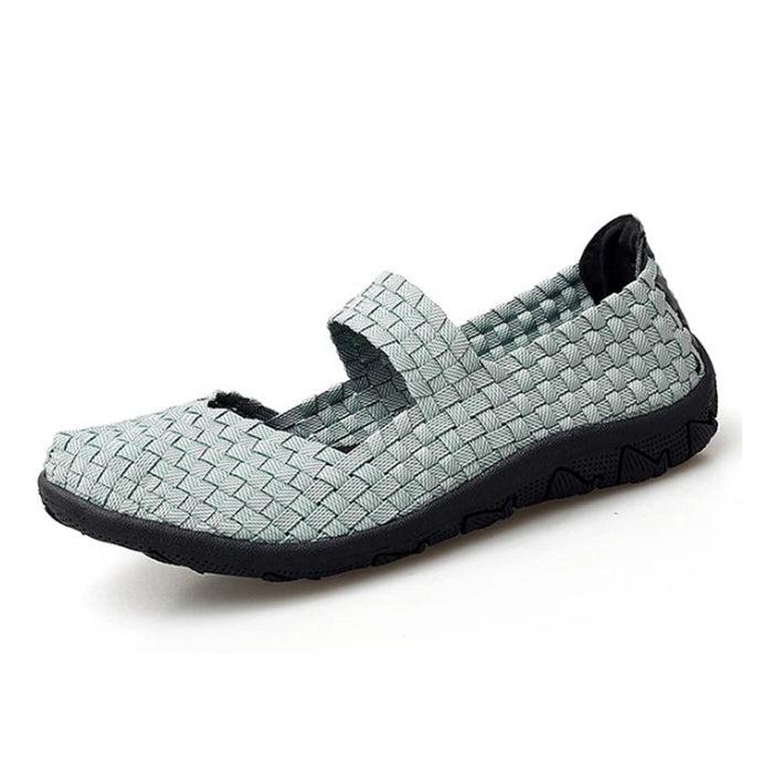 Grey Woven Black Sole Slip On With Thin Sole (3572463632484)