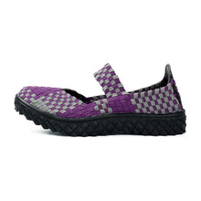 Load image into Gallery viewer, Purple Spots Woven Black Sole Slip On With Thick Sole (3475547127908)