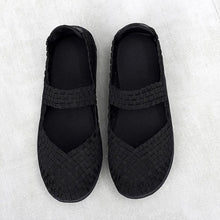 Load image into Gallery viewer, Black Woven Black Sole Slip On With Thin Sole (3572490764388)
