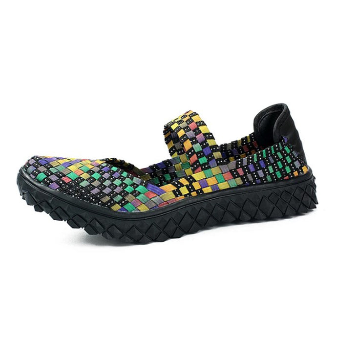 Mix Woven Black Sole Slip On With Thick Sole (3475556040804)