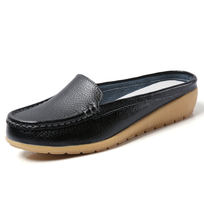 Black Leather Low Heel Loafer (3955511853143)