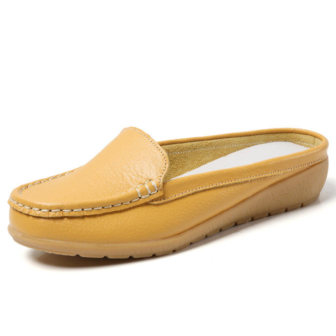 Mustard Leather Low Heel Loafer (3955510968407)