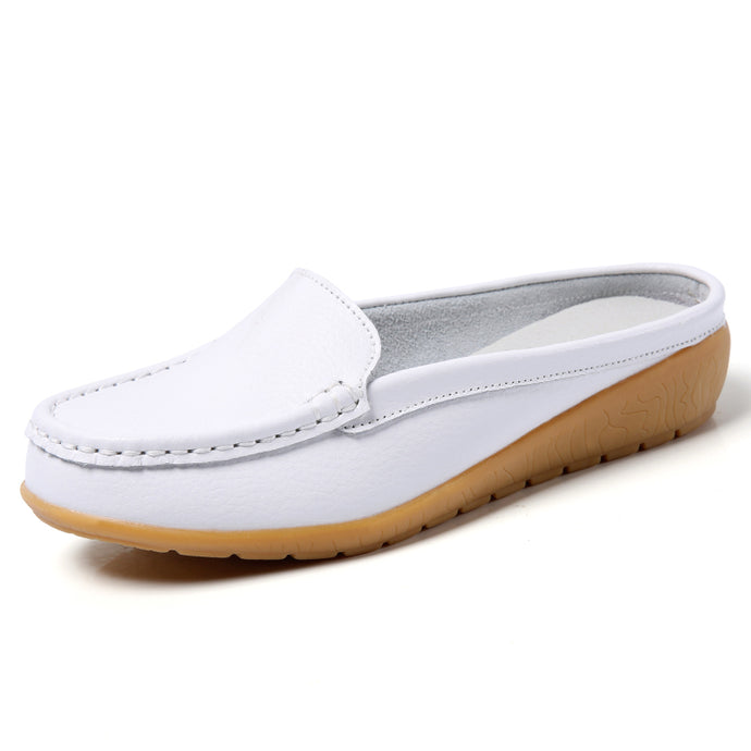 White Leather Low Heel Loafer (3955507200087)