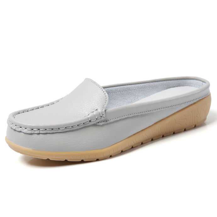 Grey Leather Low Heel Loafer (3955512967255)